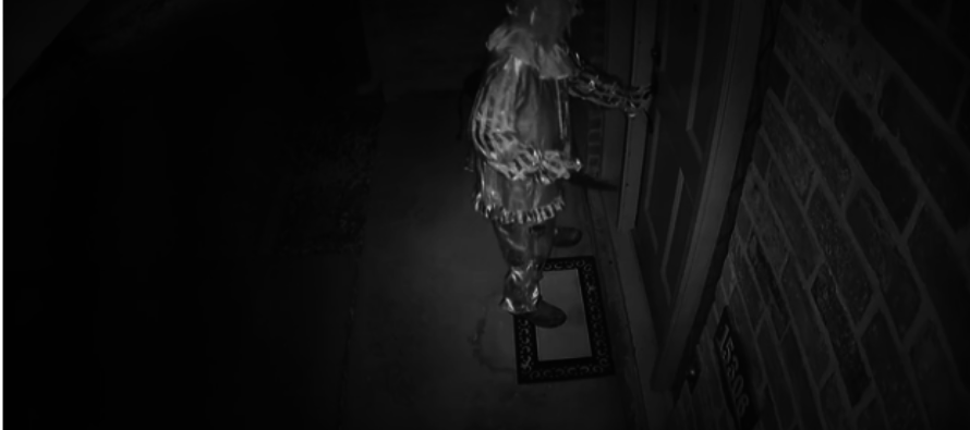 VIDEO: Clown with a huge knife caught on chilling footage trying to enter family home