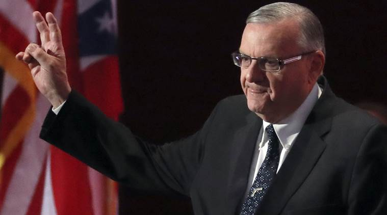 FILE - This July 21, 2016 file photo shows Sheriff Joe Arpaio of Arizona walks on the stage to speak during the final day of the Republican National Convention in Cleveland. Arpaio's campaign manager has questioned a judge's timing in asking prosecutors to pursue a criminal contempt-of-court case against the lawman 10 days before he faces a primary election. (AP Photo/Paul Sancya,File)