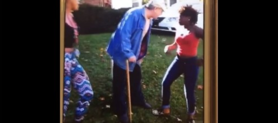 Appalling video shows two teenage girls punching elderly man with a cane after he told them to get off his lawn