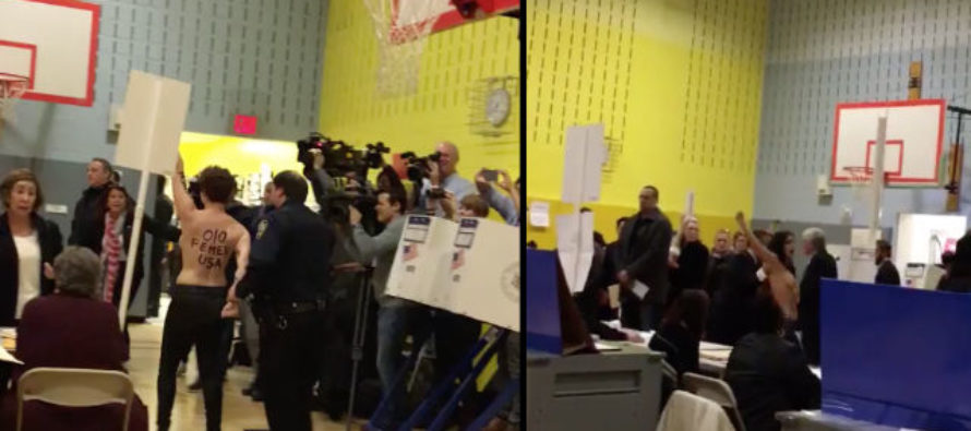 Topless women protest Trump at voting center, no further headline needed for this circus