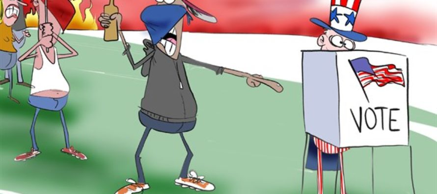 Rioters Against Voting (Cartoon)