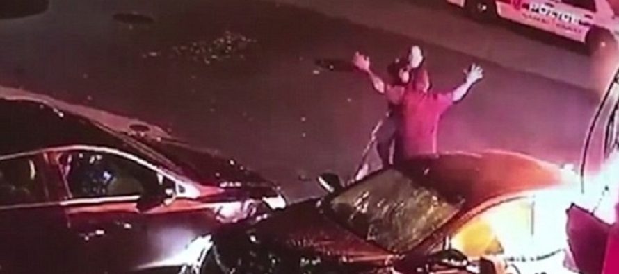 Cop Attempts To Subdue Man Who Allegedly Murdered His Wife, After He SMASHES A Gas Pump! – VIDEO