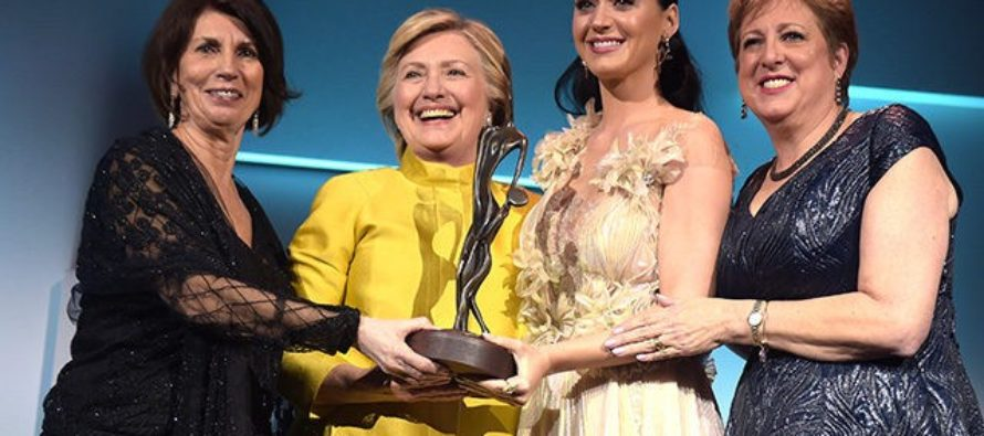 Hillary Emerges from Hiding – to Give Award to Katy Perry