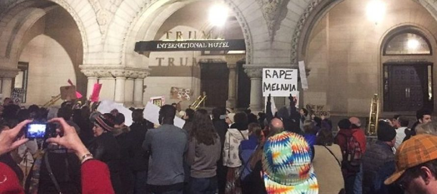 Liberal protesters call for RAPE of Melania Trump