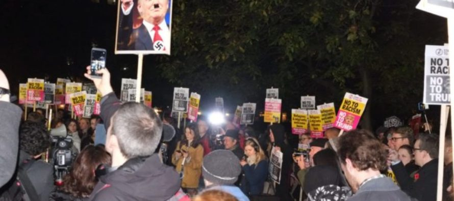 Mob Of AMERICANS Gather Outside London's U.S. Embassy In Anti-Trump PROTEST! VIDEO