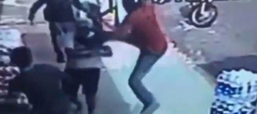 VIDEO: This thief thought he was going get away until the delivery man kicked him in the face