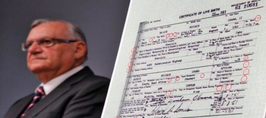 obama certificate birth forgery points arpaio sheriff joe alleges