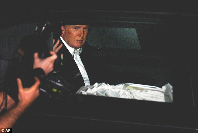 Trump pictured leaving the Church of Bethesda-by-the-Sea with Melania after they married in 2005.