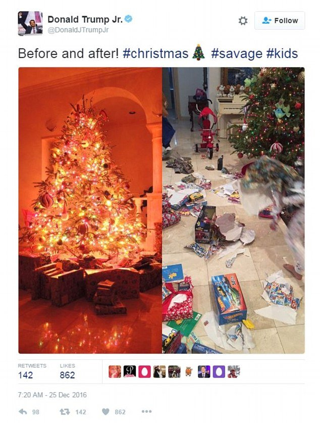 Donald Trump Jr. shared a before and after of his children opening their Christmas presents.