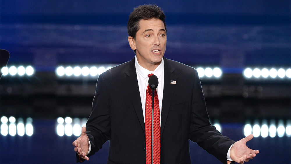 Actor Scott Baio addresses the delegates during the opening day of the Republican National Convention at the Quicken Loans Arena in Cleveland, OH, on July 18, 2016. (Photo by Anthony Behar) *** Please Use Credit from Credit Field ***
