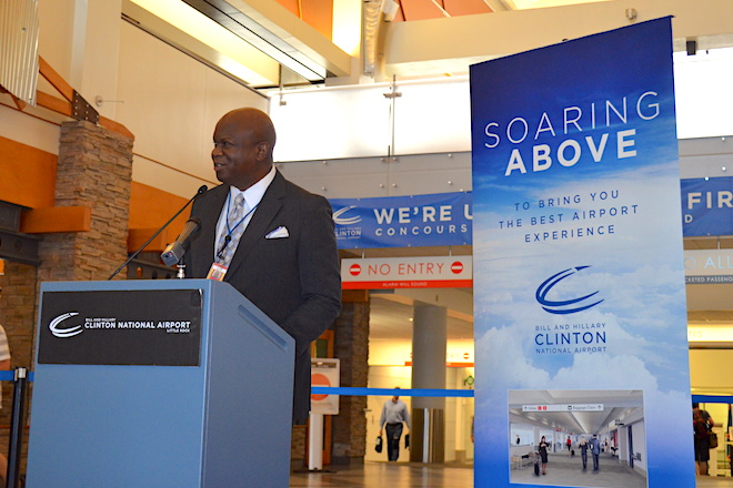Virgil Miller Jr., chairman of the Little Rock Municipal Airport Commission, announces the airport's $20.6 million concourse renovation project.