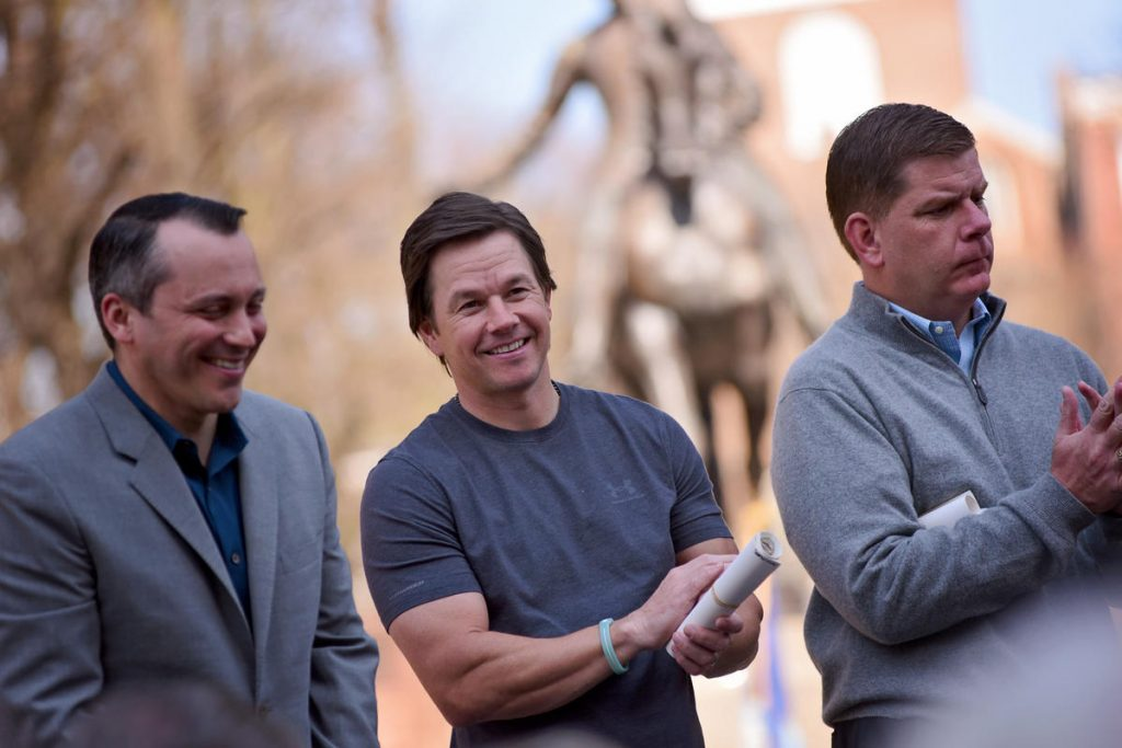 (04/18/16  Boston, MA) Mark Wahlberg joins Mayor Marty Wash at the Paul Revere Statue on Hanover Street for a ceremonial reenactment of Paul Revere's ride.  April 18, 2016.  Staff photo by Faith Ninivaggi