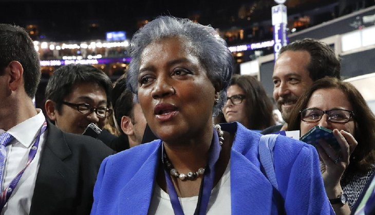 """""""You have to give credit to the campaign that had a consistent message, 100 percent of the time, make America great,"""" Donna Brazile said. (AP Photo/Paul Sancya)"""