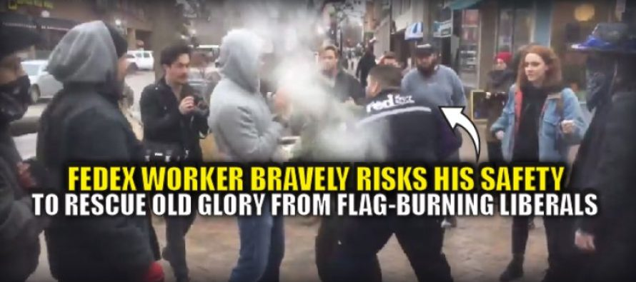 FedEX Driver sees Protesters burn American Flag and his response is AMAZING! [VIDEO]
