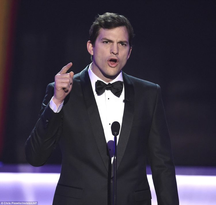 Ashton Kutcher kicked off the awards by saying: 'everyone at airports who belong in my America, you are a part of the fabric of who we are…we welcome you'