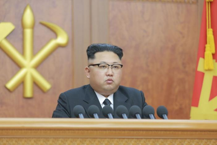 North Korean leader Kim Jong Un gives a New Year address for 2017 in this undated picture provided by KCNA in Pyongyang