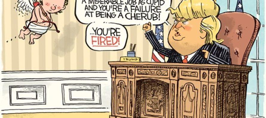 Trump Fires Cupid (Cartoon)