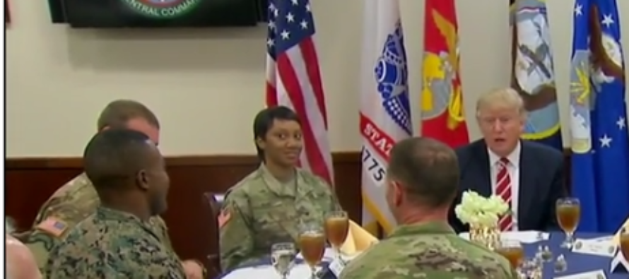 Trump eats lunch with troops, gives advice to young soldier unsure of career