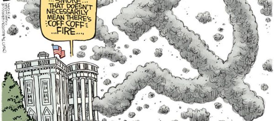 Trump Russia Smoke (Cartoon)