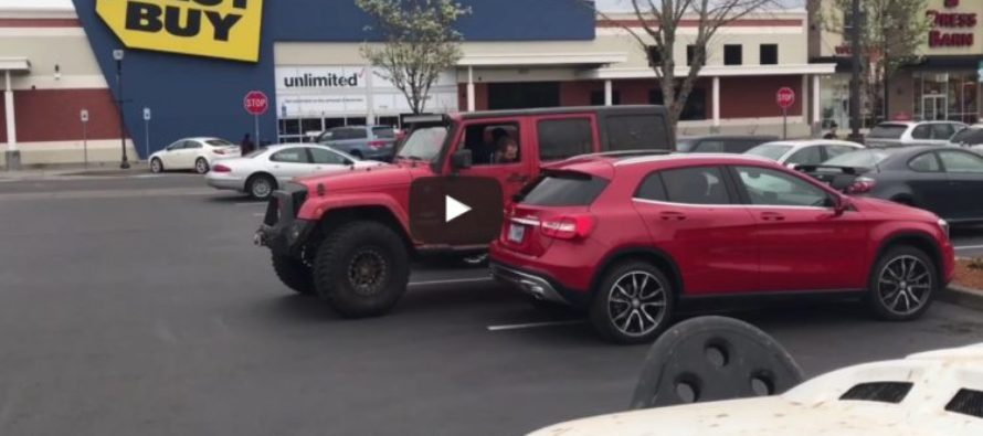 HILARIOUS! Watch What Jeep Drivers Do To Guy Taking Up TWO Parking Spaces! [VIDEO]