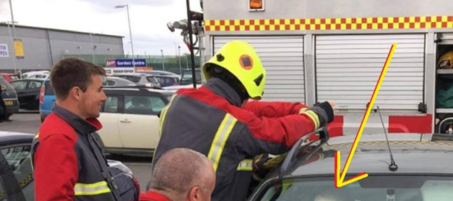 Firemen rescue toddler from locked car, the kid's reaction is hilarious