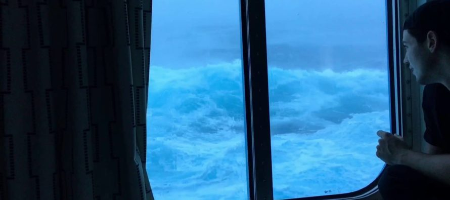 VIDEO: Insane footage shows giant waves crashing into a cruise ship while he looks out the window