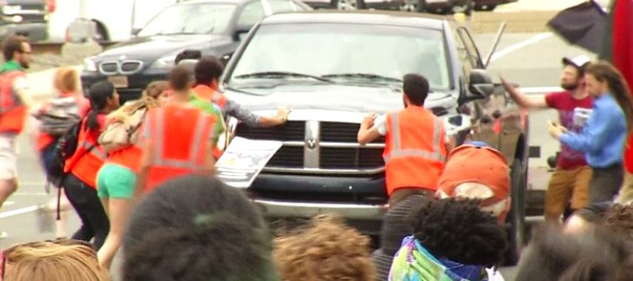 WATCH Protesters Turn Into SPEED BUMPS – This Driver Has NO Patience For Their Nonsense!