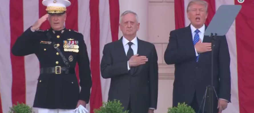 Trump Stands Next to Mattis to Sing Nat'l Anthem at Memorial Day Ceremony & His Critics Are Outraged [VIDEO]