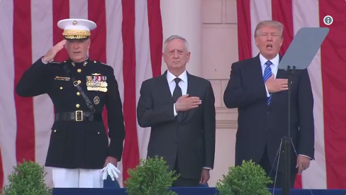 Trump Stands Next to Mattis to Sing Nat'l Anthem at Memorial Day Ceremony & His Critics Are Outraged