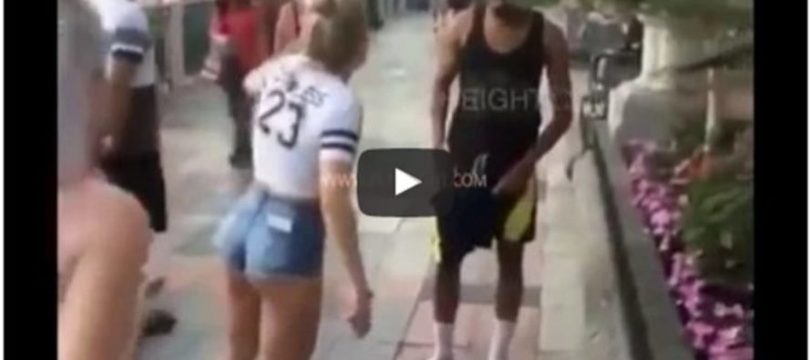 [VIDEO] Man Grabs Woman's Butt, Then One Minute Later Pays The Price