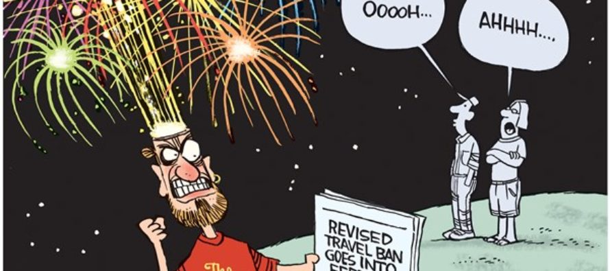 Travel Ban Fireworks (Cartoon)