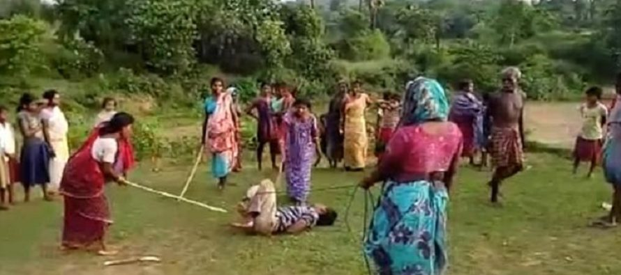VIDEO: Mothers' revenge: 'Child rapist' is tied up and beaten by women in India