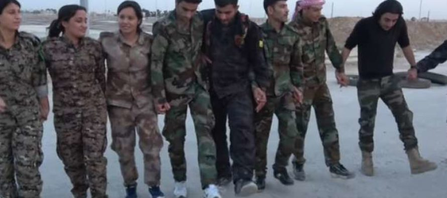 Kurdish Fighters Enjoy A Moment Of Happiness In Traditional Dance, Including American Soldier [VIDEO]