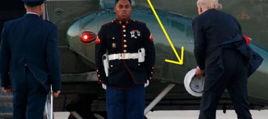 American Soldier's Headgear Falls Off, Trump Picks It Up TWICE [VIDEO]