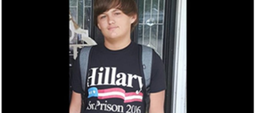 His Teacher Yelled At Him For Wearing a 'Hillary For Prison' T-Shirt