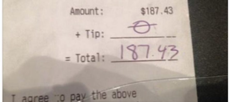 Sad Waitress Gets $0 Tip On $187 Bill, So She Takes Matters Into Her Own Hands