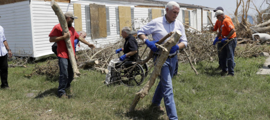 VP Pence Shows Up In Houston, Puts On Work Gloves And Gets To Work!