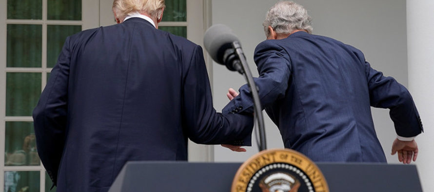 President Trump Seen Helping Mitch McConnell After White House Press Conference [VIDEO]