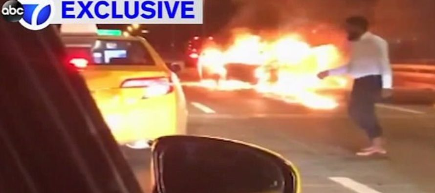 Driver Leaves Passenger To Burn Alive In His Blazing Car – Hails Cab To Go To Hospital [VIDEO]
