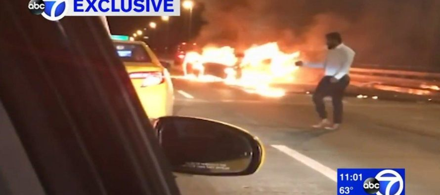 Man Hails Cab To Escape His Passenger Burning In Car Fire [VIDEO]