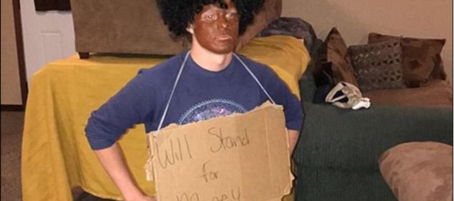 South Dakota student attacked for blackface 'will stand for money' costume mocking Kaepernick