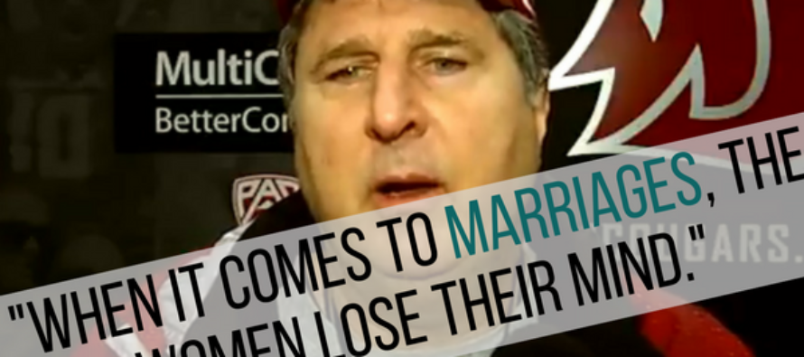 VIDEO: Washington State Coach Gives Hilarious, Rambling Answer to Reporter Asking For Wedding Advice