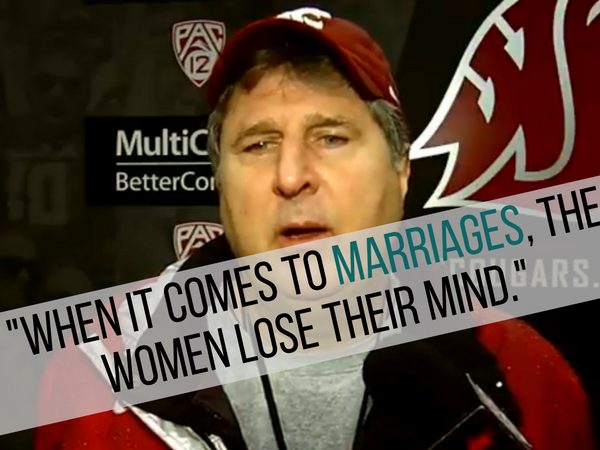 Washington State Coach Gives Hilarious, Rambling Answer to Reporter Asking For Wedding Advice