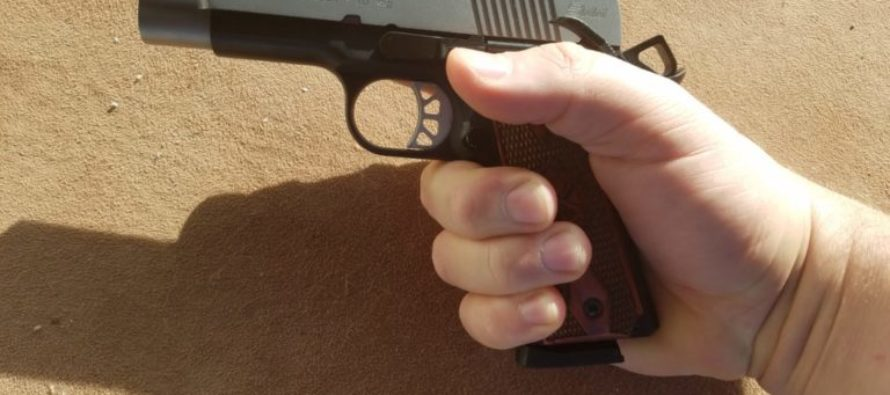 Man gets tossed bullet and catches it with his gun before shooting weapon