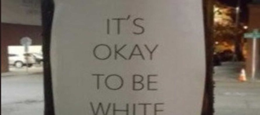 Liberals Lose Their Minds Over Signs on College Campuses That Say 'It's Okay To Be White'
