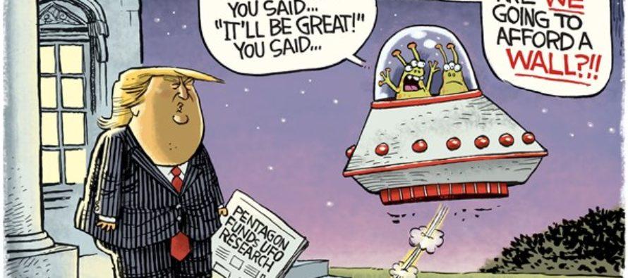 Trump UFOs (Cartoon)